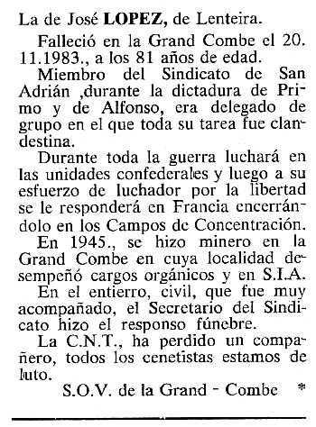 """Necrològica de José María López Espinosa apareguda en el periòdic tolosà """"Cenit"""" del 17 de gener de 1984"""