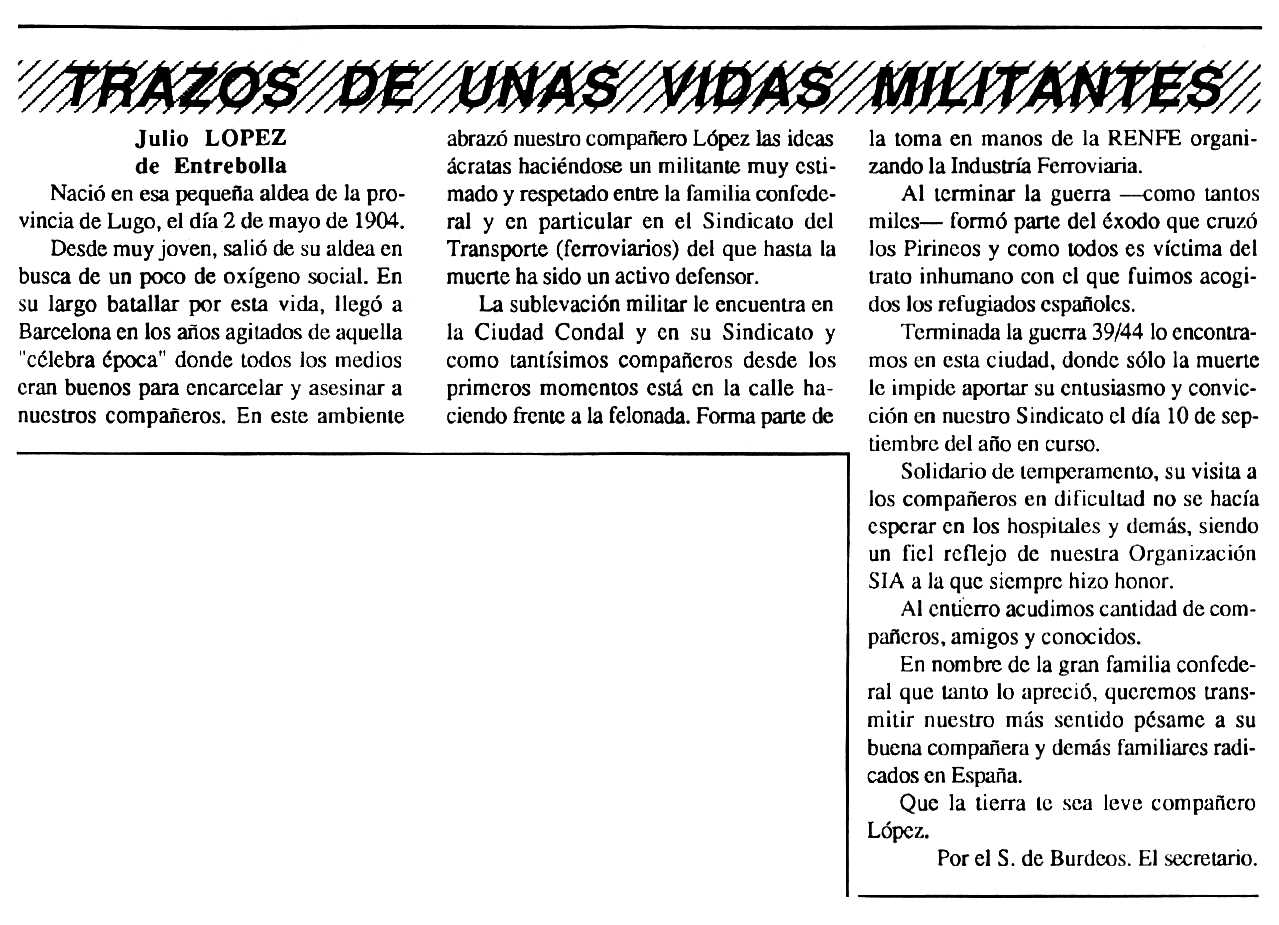 """Necrològica de Julio López apareguda en el periòdic tolosà """"Cenit"""" del 20 de novembre de 1990"""