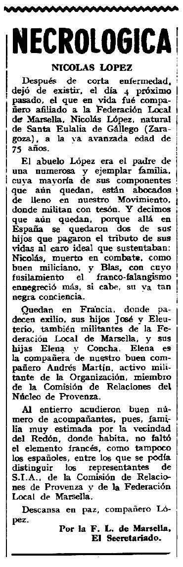 """Necrològica de Nicolás López Turón apareguda en el periòdic tolosà """"Espoir"""" de l'1 d'abril de 1962"""