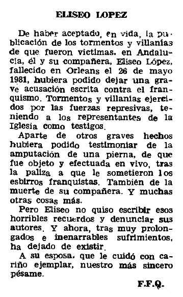 """Necrològica d'Eliseo López Rojas apareguda en el periòdic parisenc """"Le Combat Syndicaliste"""" del 2 de juliol de 1981"""