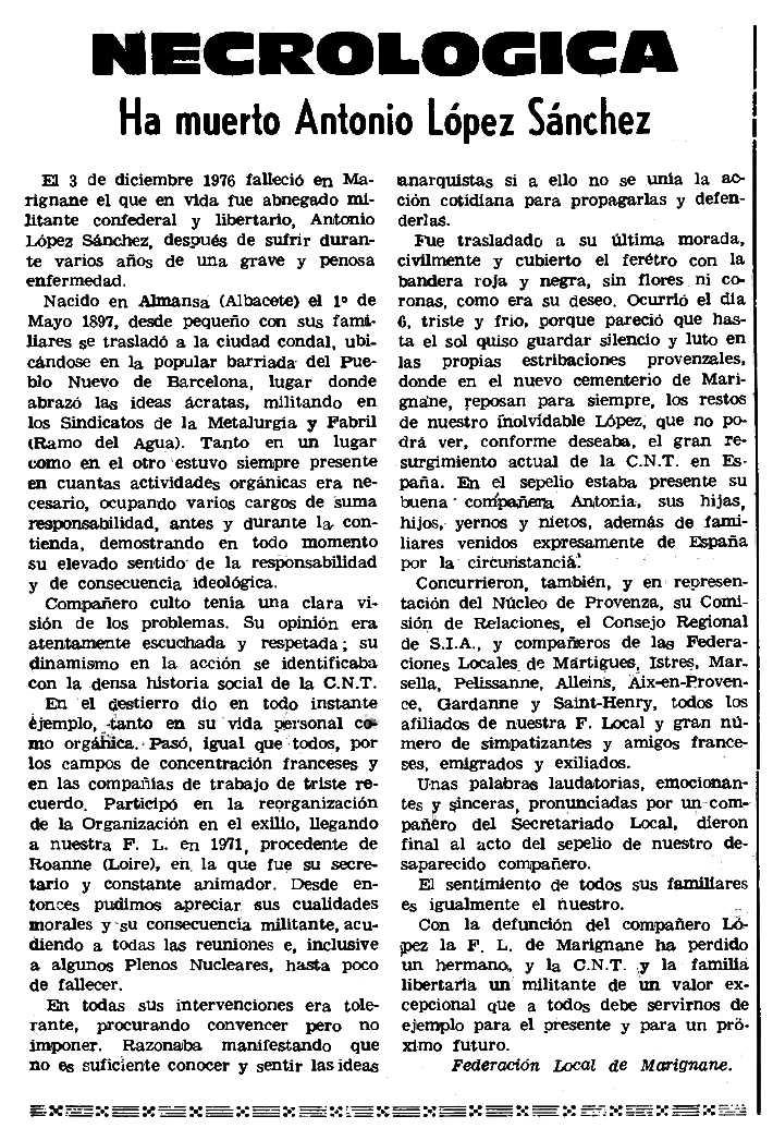 """Necrològica d'Antonio López Sánchez aparegueda en el periòdic parisenc """"Le Combat Syndicaliste"""" del 13 de gener de 1977"""
