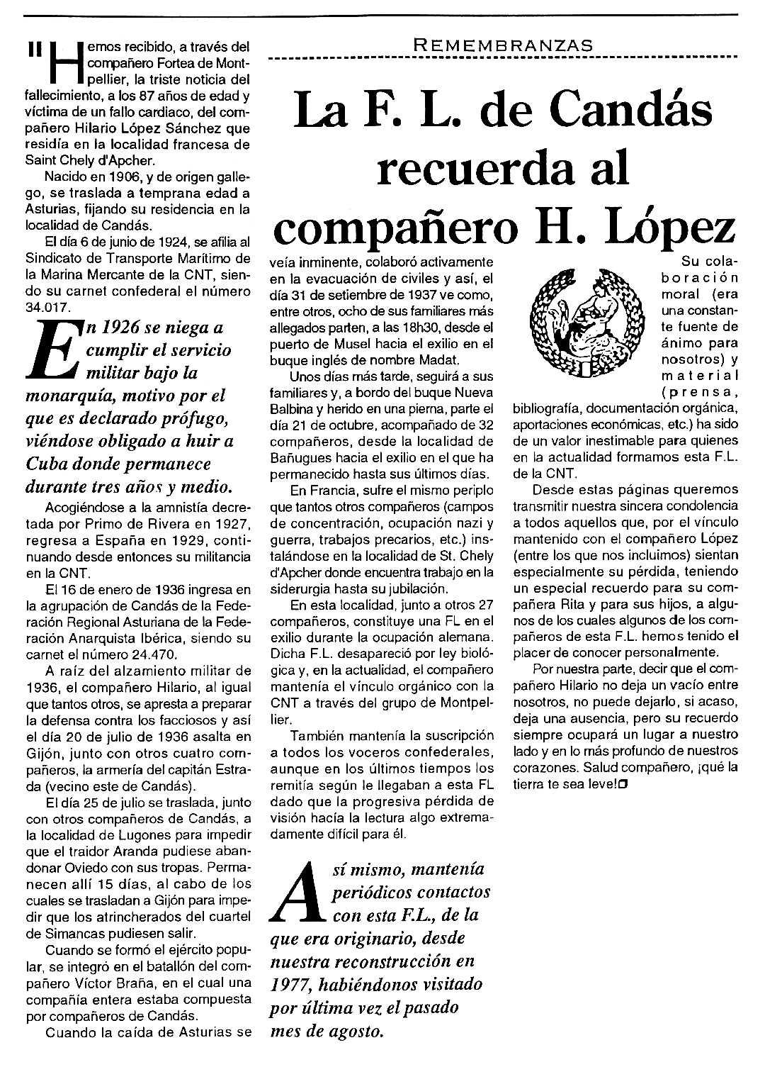 """Necrològica d'Hilario López Sánchez apareguda en el periòdic tolosà """"Cenit"""" del 14 de desembre de 1993"""