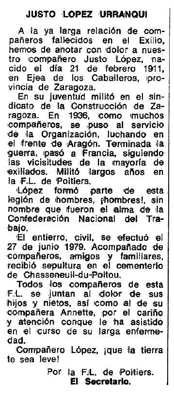 """Necrològica Justo López Urzanqui apareguda en el periòdic tolosà """"Espoir"""" del 23 de juliol de 1979"""