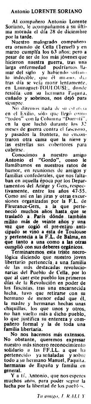 """Necrològica d'Antonio Lorente Soriano publicada en el periòdic tolosà """"Espoir"""" del 10 de febrer de 1980"""