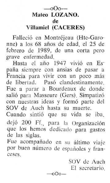 """Necrològica de Mateo Lozano apareguda en el periòdic tolosà """"Cenit"""" del 12 de setembre de 1989"""