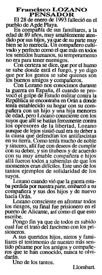 """Necrològica de Francisco Lozano Pensador apareguda en el periòdic tolosà """"Cenit"""" del 8 de juny de 1993"""