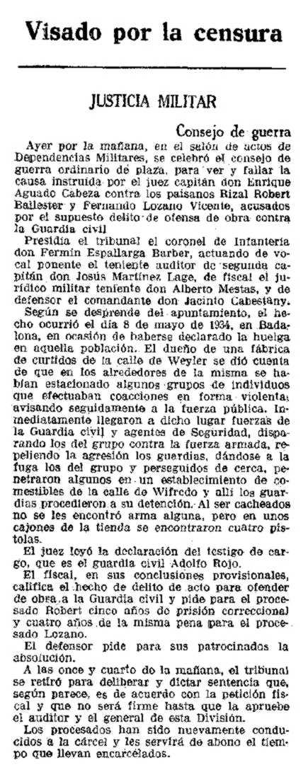 """Noticia sobre el juicio de Fernando Lozano Vicente aparecida en """"La Vanguardia"""" (24 de noviembre de 1935)"""