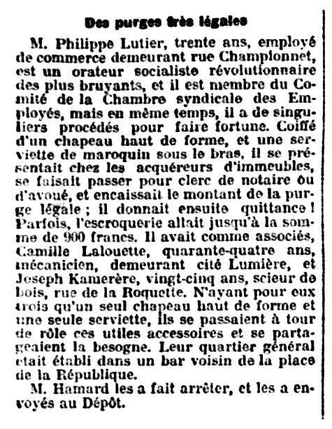 """Notícia de la detenció de Philippe Lutier apareguda en el diari parisenc """"L'Éclair"""" del 9 de març de 1909"""