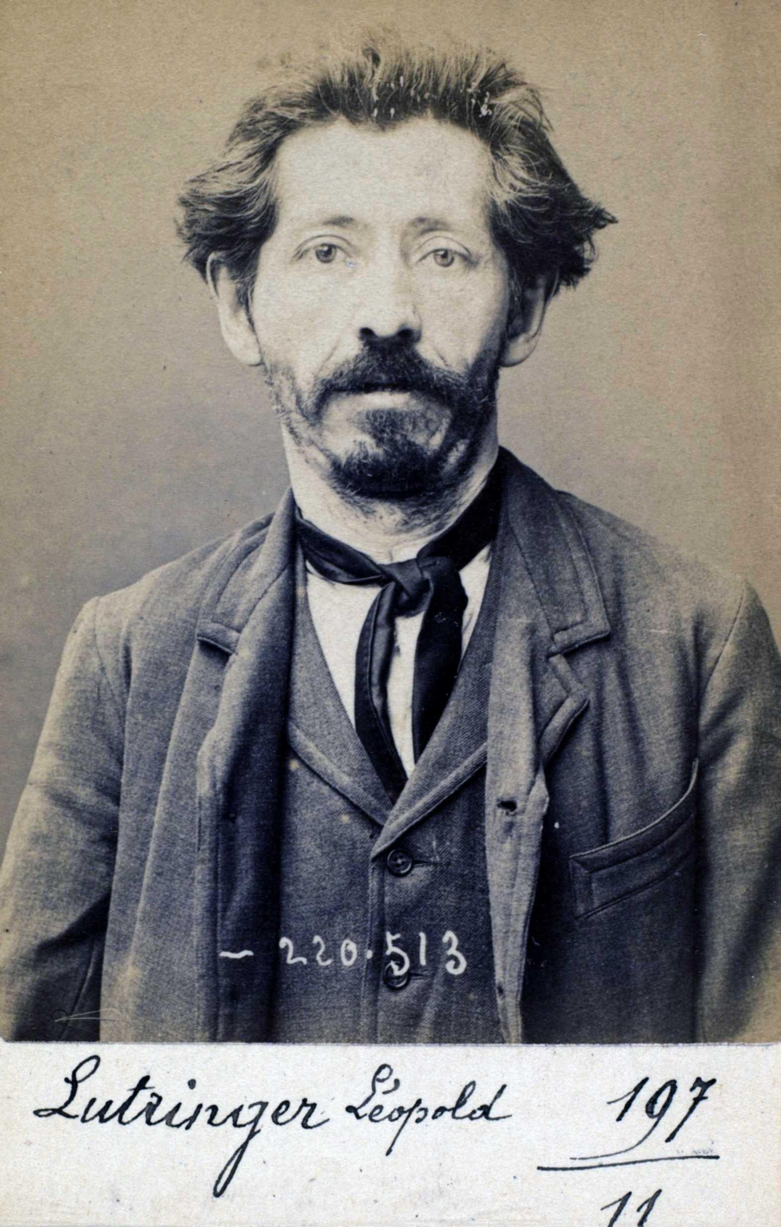 Foto policíaca de Léopold Lutringer (3 de juliol de 1894)