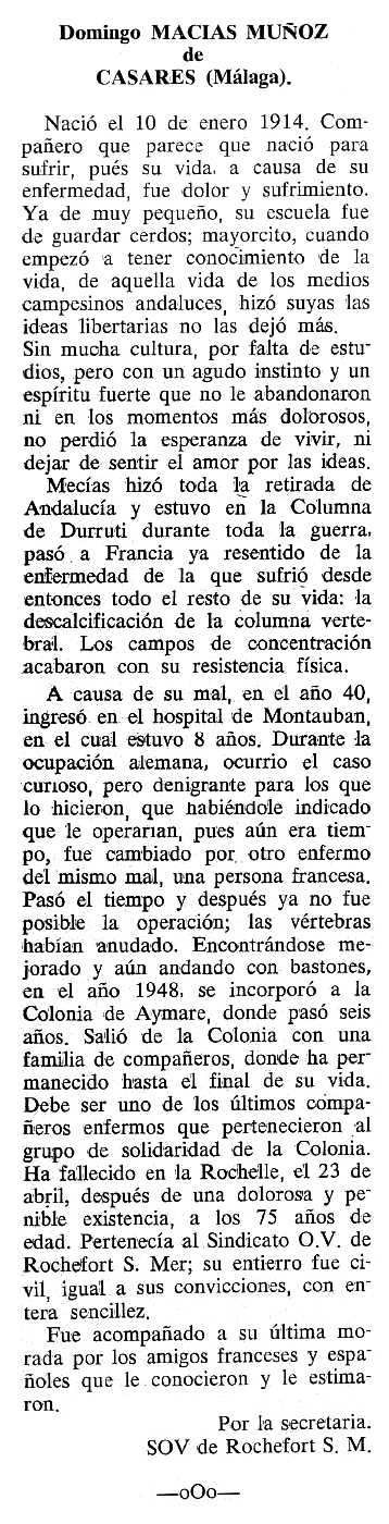 """Necrològica de Domingo Macías Muñoz apareguda en el periòdic tolosà """"Cenit"""" del 19 de setembre de 1989"""