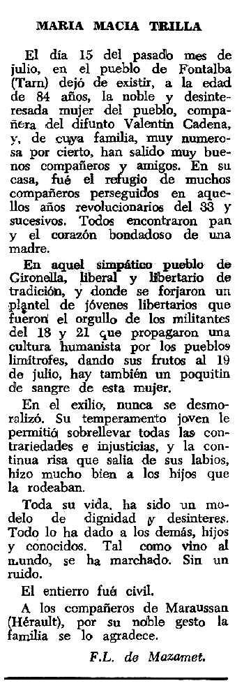 """Necrològica de Maria Macià Trilla apareguda en el periòdic tolosà """"Espoir"""" del 20 novembre de 1966"""