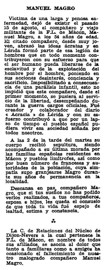 "Necrològica de Manuel Magro Merodio apareguda en el periòdic parisenc ""Solidaridad Obrera"" del 20 de setembre de 1956"
