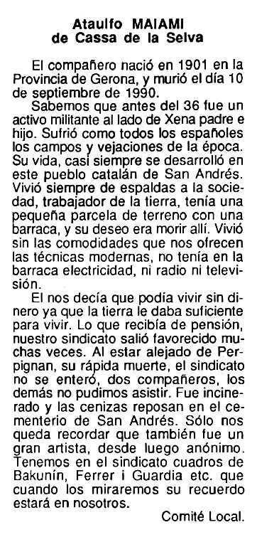 "Necrològica d'Ataulfo Maiami apareguda en el periòdic tolosà ""Cenit"" del 6 de novembre de 1990"