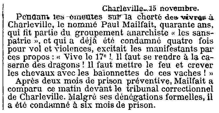 """Notícia de la condemna de Paul Mailfait apareguda en el diari parisenc """"Le Temps"""" del 16 de novembre de 1911"""