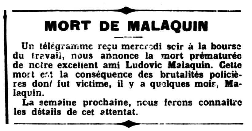"""Nota necrològica de Louis Malaquin aparagueda en el periòdic parisenc """"Le Libertaire"""" del 17 de juny de 1904"""