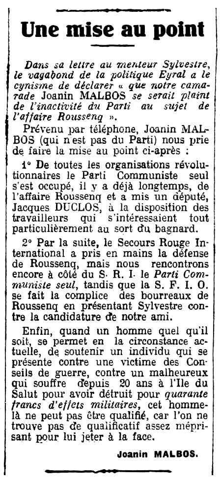 """Noticia de Juan Malbos sobre el """"Asunto Roussenq"""" aparecida en el periódico de Nimes """"La Provence Ouvrière te Paysanne"""" del 13 de octubre de 1928"""