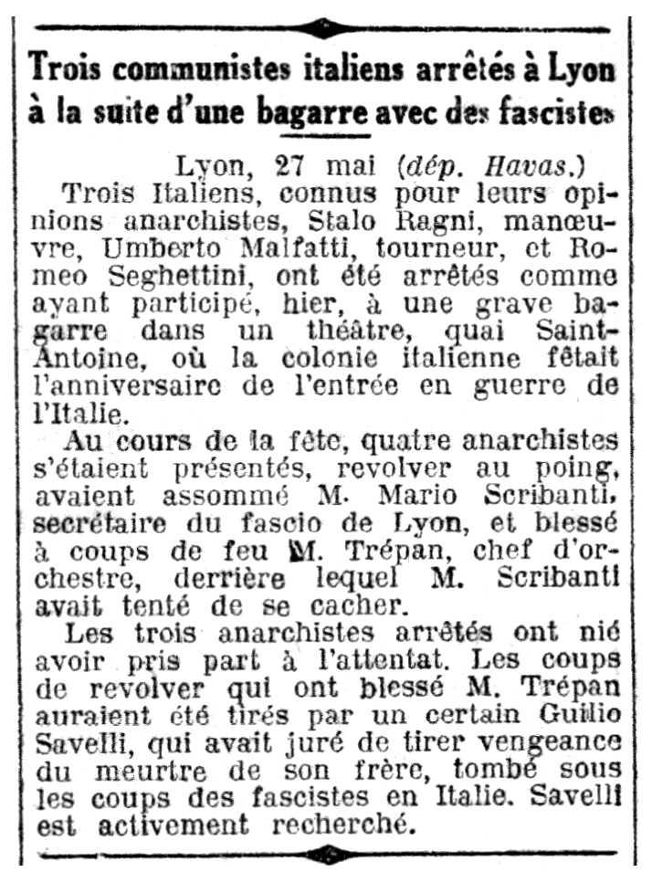 """Notícia de la detenció d'Umberto Malfatti pubicada en el diari parisenc """"Le Petit Parisien"""" del 28 de maig de 1927"""