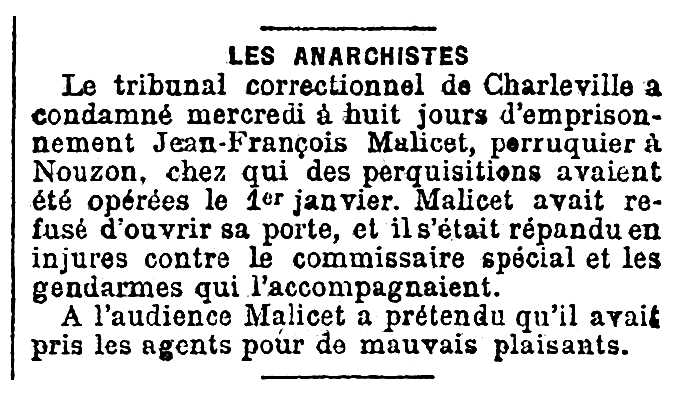 """Notícia de la condemna de Jean-François Malicet publicada en el diari parisenc """"Le Petit Journal"""" del 5 de gener de 1894"""