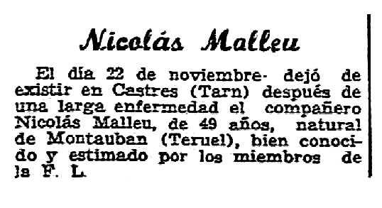 """Necrològica de Nicolás Mallén Ortín apareguda en el periòdic parisenc """"Solidaridad Obrera"""" del 10 de desembre de 1953"""