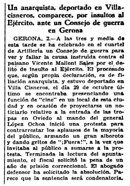 """Notícia sobre el judici de Vicent Mallent Sales publicada en el diari madrileny """"Ahora"""" del 3 d'abril de 1935"""
