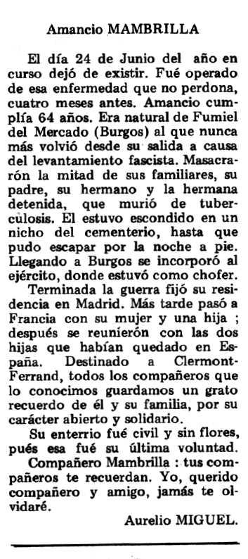 """Necrològica d'Amancio Mambrilla Contreras apareguda en el periòdic tolosà """"Espoir"""" del 21 d'octubre de 1979"""