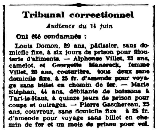 "Notícia de la condemna de Georgette Manereck i de son company apareguda en el diari de Dijon ""Le Progrès de la Côte-d'Or"" del 18 de juny de 1907"