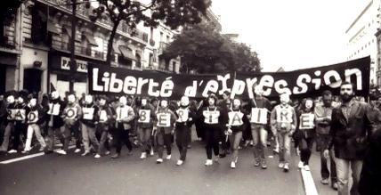 Manifestació contra el tancament de Radio Libertaire (París, 3 de setembre de 1983)