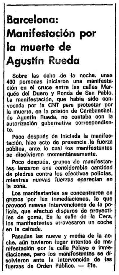 """Notícia sobre la manifestació aparaguda a """"La Vanguardia"""" del 22 de març de 1978"""