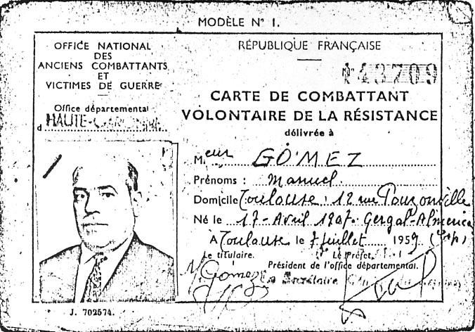 Carnet de combatiente de la Resistencia de Manuel Gómez [militantes-anarchistes.info]