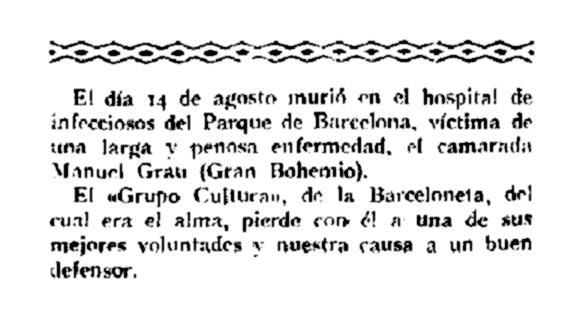 """Necrològica de Manuel Grau Mas apareguda en el número 55 de """"La Revista Blanca"""" de l'1 de setembre de 1925"""