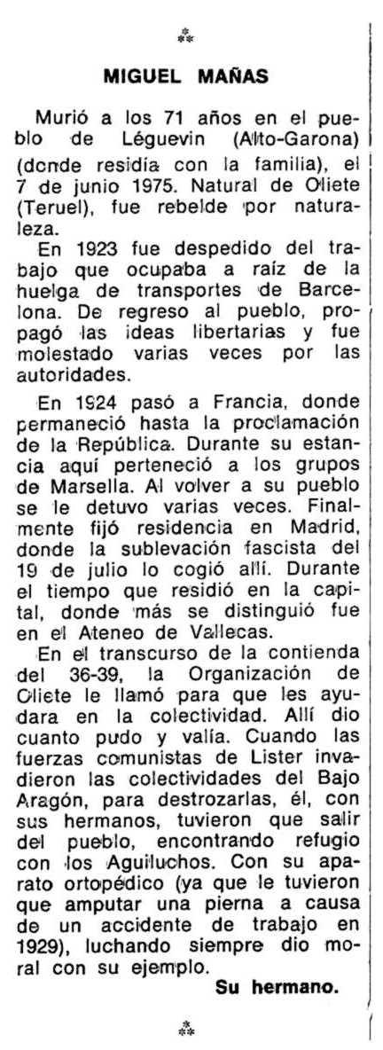 """Necrològica de Miguel Mañas Santiago apareguda en el periòdic tolosà """"Espoir"""" del 7 de març de 1976"""