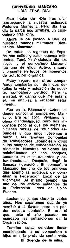 """Necrològica de Bienvenido Manzano Díaz apareguda en el periòdic tolosà """"Espoir"""" del 15 de febrer de 1976"""