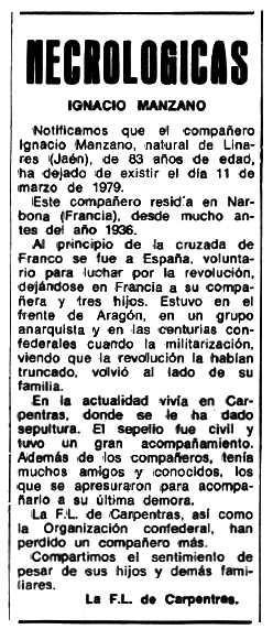"""Necrològia d'Ignacio Manzano Bosquet apareguda en el periòdic tolosà """"Espoir"""" del 16 de juliol de 1979"""