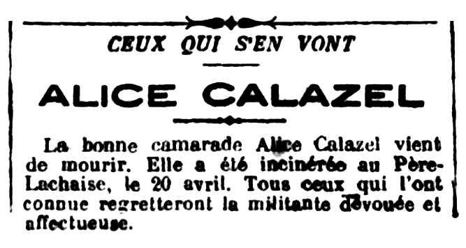 """Notícia de la mort d'Alice Marcellin apareguda en el periòdic parisenc """"Le Libertaire"""" del 27 d'abril de 1923"""