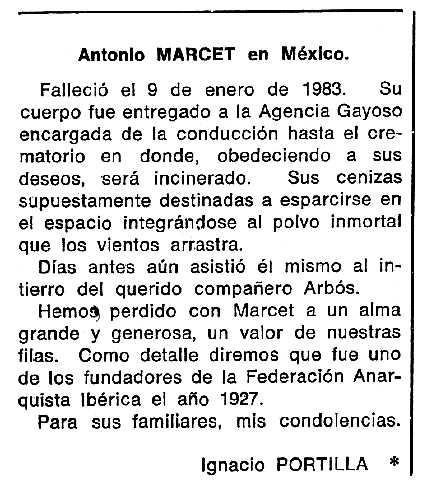 """Necrològica d'Antoni Marcet apareguda en el periòdic tolosà """"Cenit"""" del 15 de febrer de 1983"""