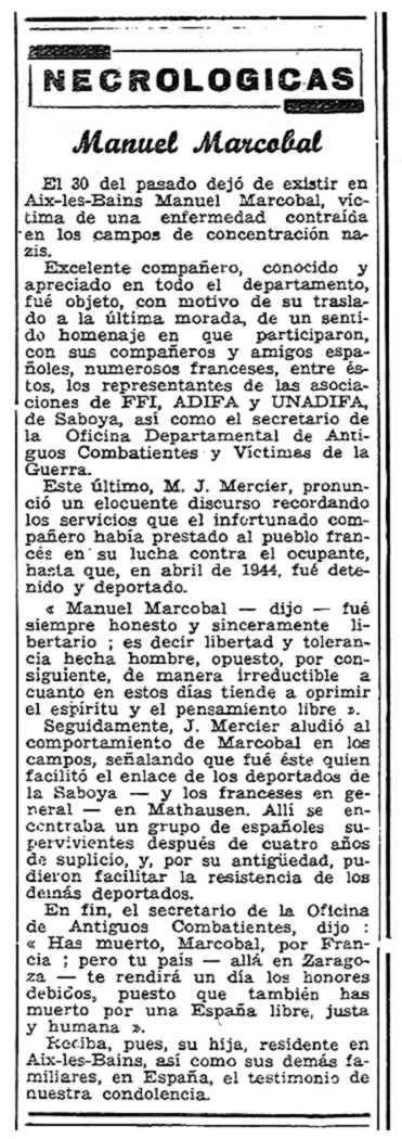"""Necrològica de Vicente Manuel Marcobal San Adrián apareguda en el periòdic """"Solidaridad Obrera"""" del 19 de novembre de 1953"""