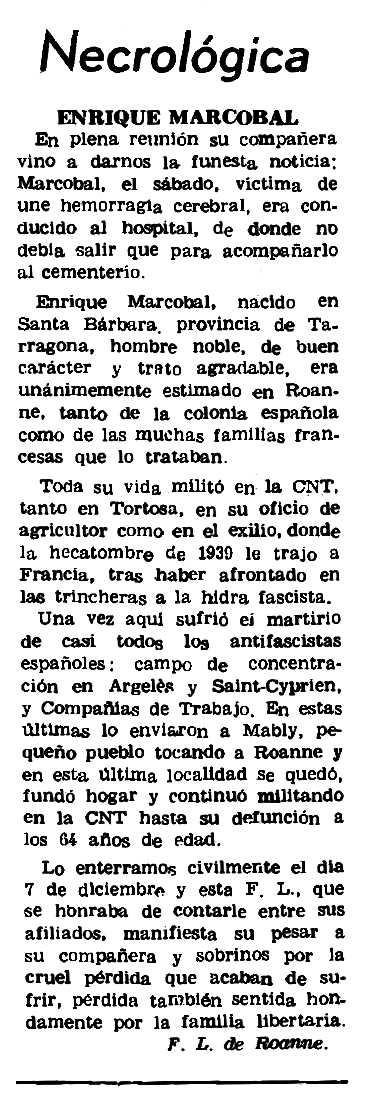 "Necrològica d'Enric Marcobal apareguda en el periòdic parisenc ""Le Combat Syndicaliste"" del 10 de febrer de 1972"