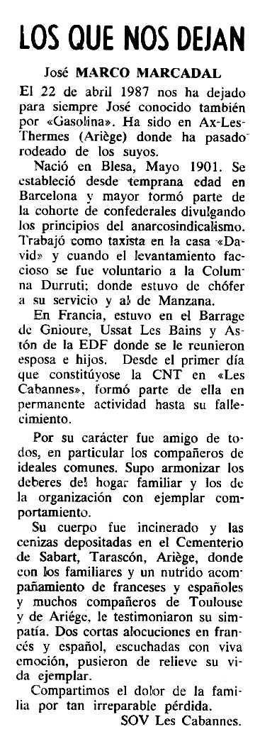 "Necrològica de José Marco Mercadal apareguda en el periòdic tolosà ""Cenit"" del 14 de juliol de 1987"