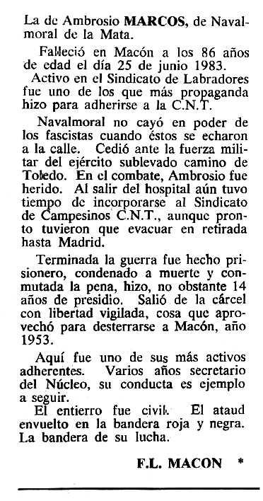 "Necrològica d'Ambrosio Marcos González apareguda en el periòdic tolosà ""Cenit"" del 13 de desembre de 1983"