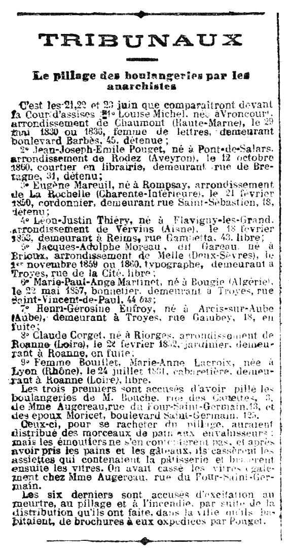 """Notícia del judici d'Eugène Mareuil apareguda en el periòdic parisenc """"La Lanterne"""" del 6 de juny de 1883"""