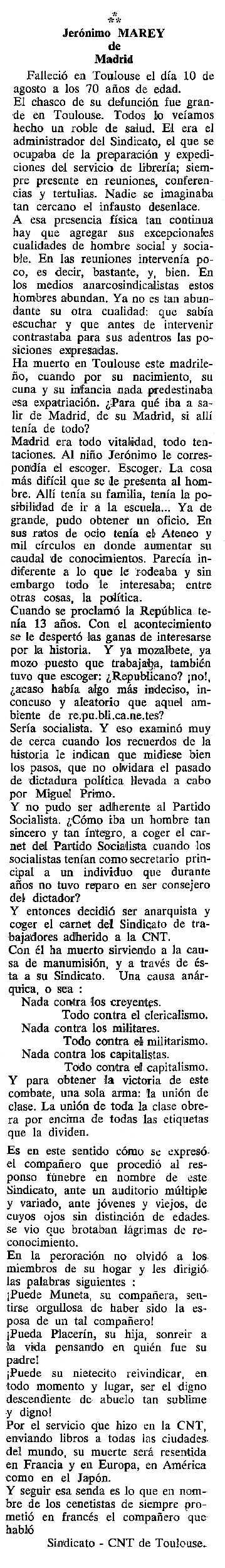 """Necrològica de Jerónimo Marey apareguda en el periòdic tolosà """"Cenit"""" del 15 de novembre de 1988"""