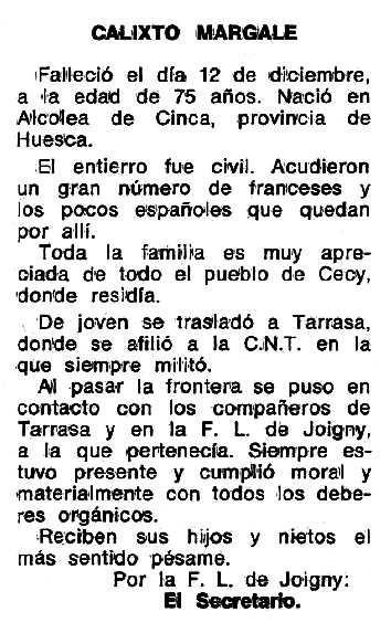 """Necrològica de Calixto Margale apareguda en el periòdic tolosà """"Espoir"""" del 16 de maig de 1976"""