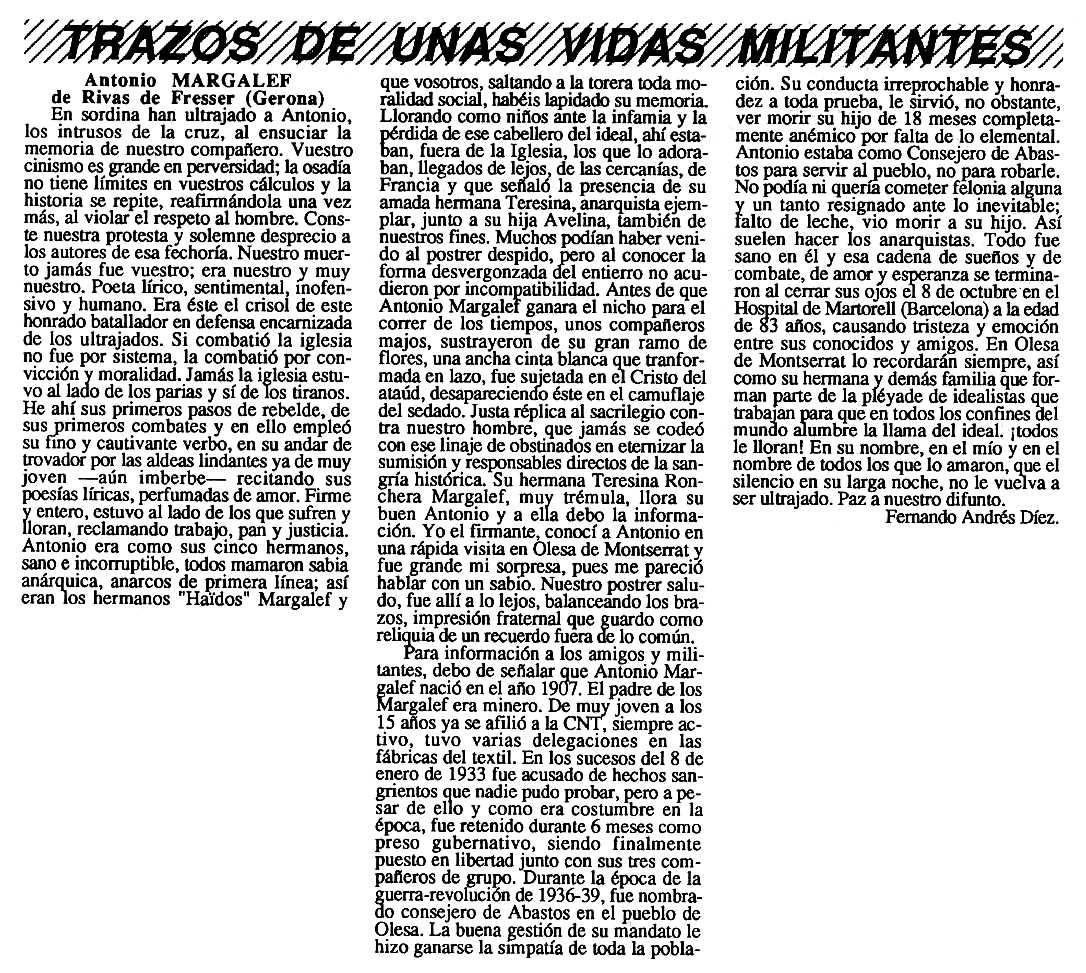 """Necrològica d'Antoni Margalef Beltran apareguda en el periòdic tolosà """"Cenit"""" del 4 de desembre de 1990"""
