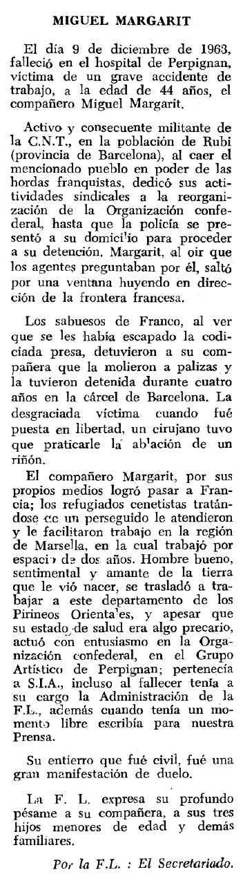 "Necrològia de Miquel Margarit Batet apareguda en el periòdic tolosà ""Espoir"" del 5 de gener de 1964"