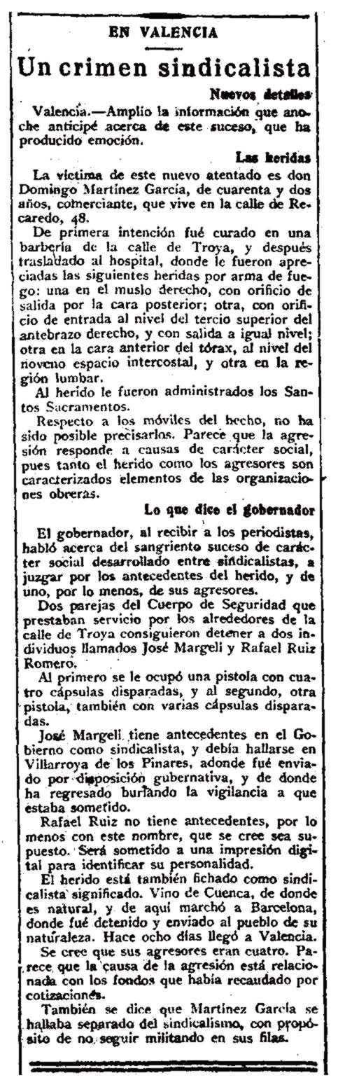 """Notícia de la detenció de José Margeli Naudín apareguda en el diari madrileny """"La Correspondencia de España"""" del 5 de novembre de 1921"""
