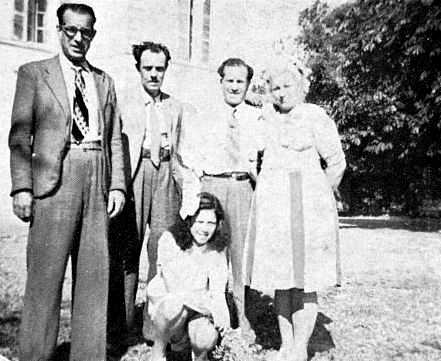 D'esquerra a dreta: Federico Marín, Pedro Costa i Francisco, Maria i Minerva Sábat (Montpeller, 1946)