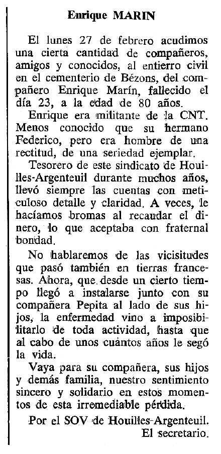 """Necrològica d'Enrique Marín Abad apareguda en el periòdic tolosà """"Cenit"""" del 18 d'abril de 1989"""