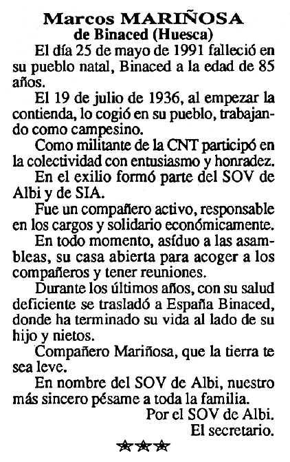 """Necrològica de Marcos Mariñosa Bermón apareguda en el periòdic tolosà """"Cenit"""" del 9 de juliol de 1991"""