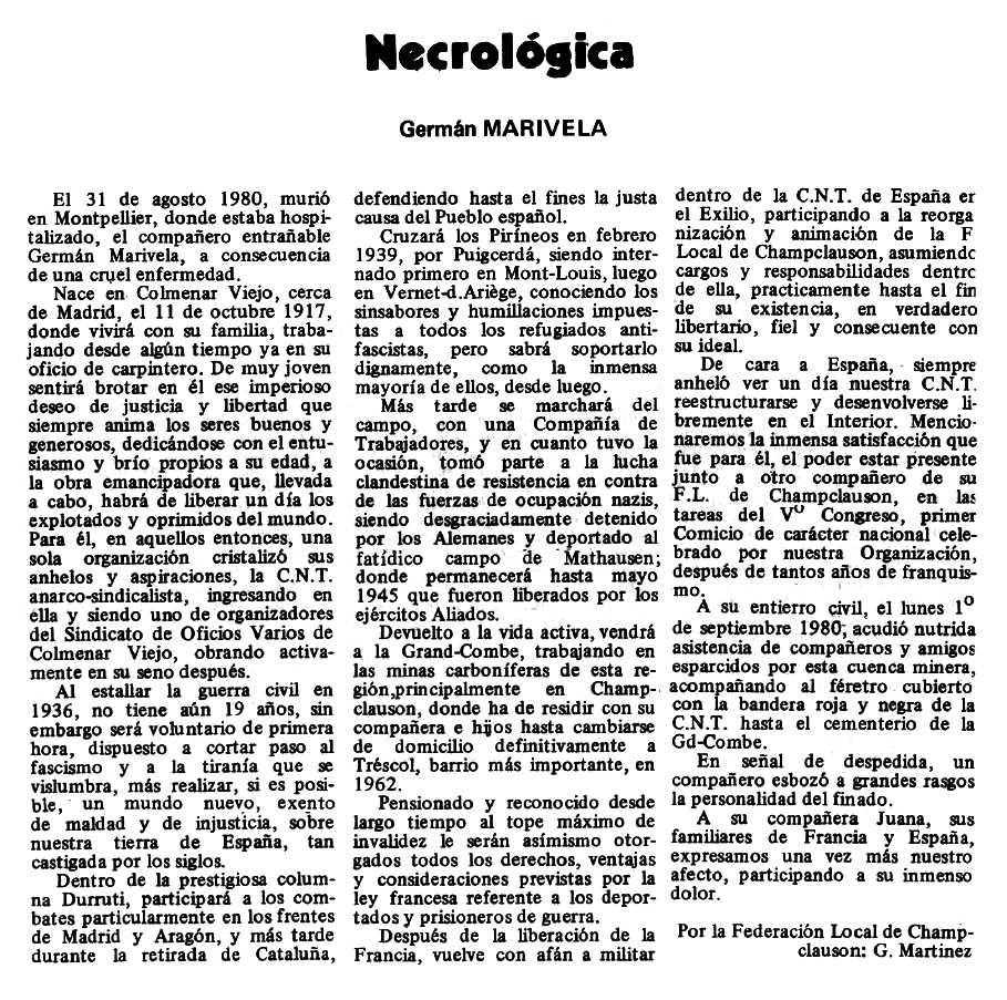 """Necrològica d'Hipólito Marivela Torres apareguda en el periòdic tolosà """"Espoir"""" del 19 d'octubre de 1980"""