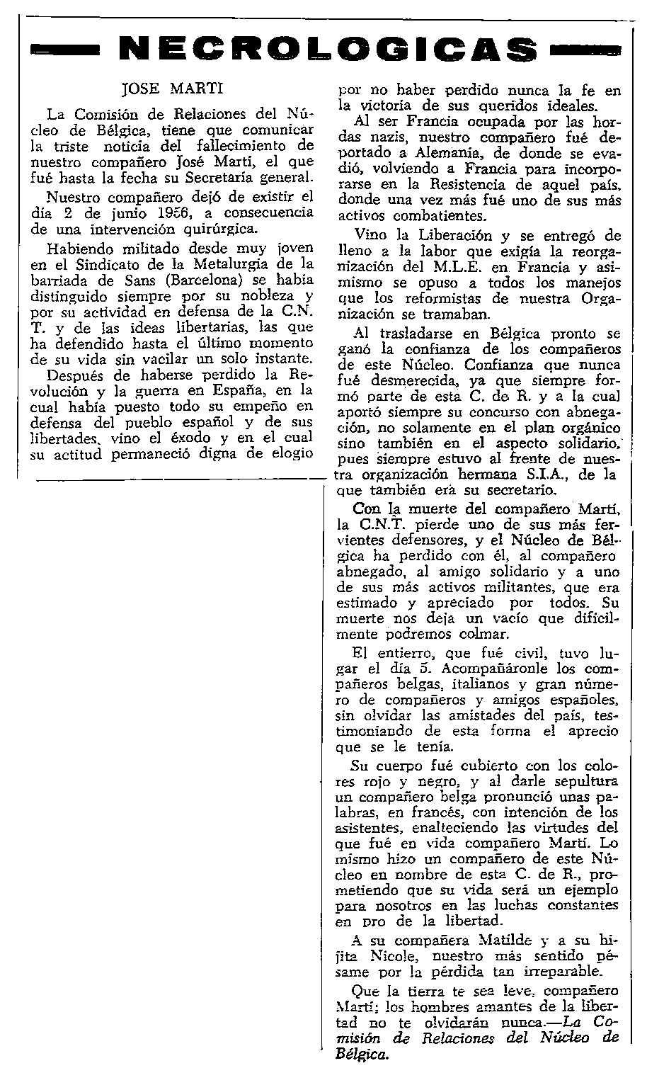 """Necrològica de José Martí apareguda en el periòdic tolosà """"CNT"""" del 24 de juny de 1956"""